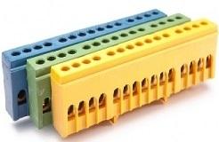 Шина нулевая на DIN-рейку в корпусе 15 гнёзд (Жёлтый)