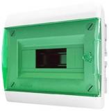 Бокс встраиваемый Tekfor 8 модулей IP40 BVZ 40-08-1 (зеленая прозрачная дверца)