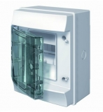 Бокс 4 модуля ABB Mistral IP65 накладной серый зеленая прозрачная дверь без клемм
