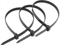 Нейлоновые кабельные стяжки чёрные хомуты 4х200мм (100 штук)