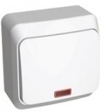 Выключатель Этюд 1 клавишный с подсветкой белый ВА10-005В