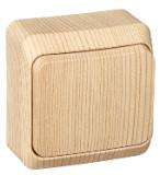Выключатель Этюд 1 клавишный наружный сосна BA10-004D