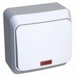 Выключатель Этюд 1 клавишный кнопочный с подсветкой белый KA10-002В