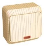 Выключатель Этюд 1 клавишный наружный с подсветкой сосна BA10-005D
