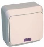 Выключатель Этюд 1 клавишный наружный с подсветкой бежевый BA10-007D