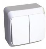 Выключатель Этюд 2 клавишный наружный белый BA10-002В