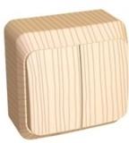 Выключатель Этюд 2 клавишный наружный сосна BA10-002D