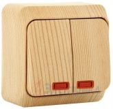 Выключатель Этюд 2 клавишный наружный с подсветкой сосна BA10-006D