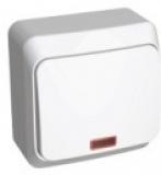 Выключатель Этюд 1 клавишный проходной с подсветкой белый ВА10-007В