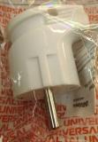 Вилка электрическая с заземлением белая угловая