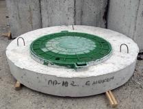 Крышка бетонная круглая с пластиковым люком 116 см
